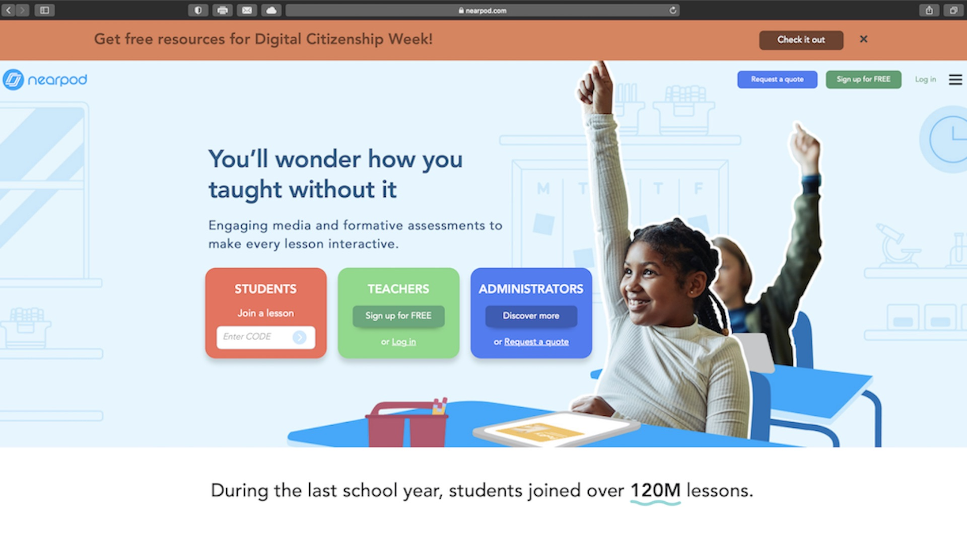 Screenshot of Nearpod website.
