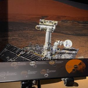 Opportunity rover replica on display.